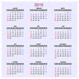 Wall calendar for 2018 yea. Vector image of a wall calendar for 2018 year. Wall calendar for 2018 year Stock Photography
