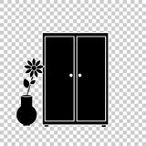 Vector image of a wardrobe icon for clothes and a flower Royalty Free Stock Images