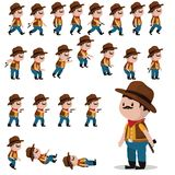 Cowboy character sprites for games. Animation cowboy walks, falls, jumps, shoots. Royalty Free Stock Photography
