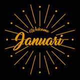 Vector image welcome januari. Time with background black Stock Photo