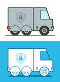Vector image of white and gray armored security trucks Stock Images