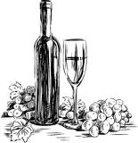 Grape wine. Vector image of a wine bottle, glass and grape stock illustration