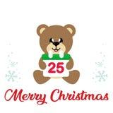 Winter christmas cartoon bear with christmas calendar and christmas text. Vector image of a winter christmas cartoon bear with christmas calendar and christmas royalty free illustration