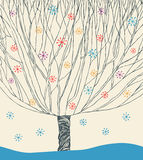 Vector image of winter tree. illustration with tree under snowfall Royalty Free Stock Photo