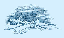 Vector image of a winter village landscape at engraving style stock illustration