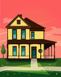 Vector image of wooden house sunset Royalty Free Stock Image