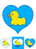 Vector image of yellow rubber ducks swimming in hearts Stock Photo