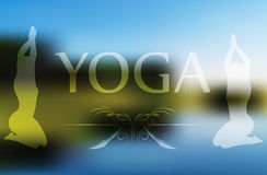 Vector Image - Yoga pose  on blurred background Royalty Free Stock Images