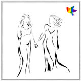 Vector image of young beautiful lesbian couple awaiting baby in abstract style, drawing in black line Royalty Free Stock Photo