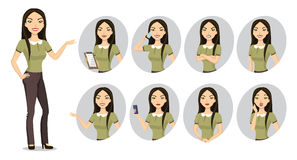 Vector image of a young woman character. Stock Photos