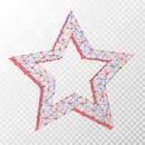 Vector a imagem abstrata poligonal da estrela que consiste em pontos, em pontos e em linhas no fundo transparente Imagens de Stock