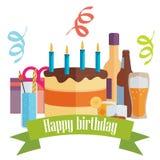 Vector a imagem com bolo, bebidas e presentes de aniversário Imagens de Stock Royalty Free