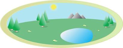 Vector a imagem da natureza da paisagem do verão em um oval Imagens de Stock