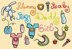 Gráficos do bebê ajustados Fotos de Stock