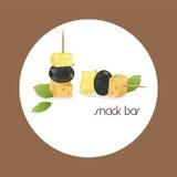 Vector a imagem de um canape, que consista em azeitonas, em queijo e em abacaxi Fotografia de Stock