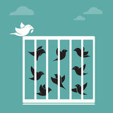 Vector a imagem de um pássaro na gaiola e na parte externa a gaiola Fotografia de Stock Royalty Free