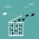Vector a imagem de um pássaro na gaiola e na parte externa a gaiola Fotografia de Stock