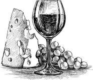 Vinho do queijo e da uva Imagens de Stock Royalty Free