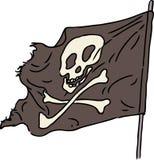 Vector a imagem de um voo da bandeira de pirata no vento Imagens de Stock Royalty Free