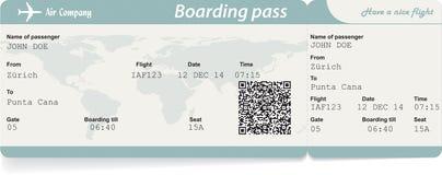 Vector a imagem do bilhete da passagem de embarque da linha aérea com imagens de stock