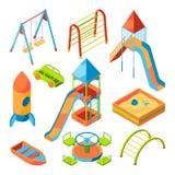 Vector imagens isométricas do campo de jogos das crianças com brinquedos diferentes ilustração stock