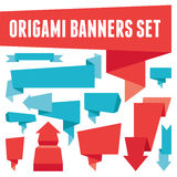 Origami Banners Set. Vector images of banners in origami style for design presentations, brochures, advertising layout, infographics and other designer products Stock Photo