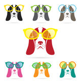 Vector images of basset hound dog wearing glasses Royalty Free Stock Photography
