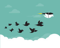 Vector images of birds and rockets in the sky. Royalty Free Stock Images