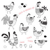 Vector images of chickens, hens, cocks, eggs in cartoon style, line art. Elements for design cover food package Stock Photos