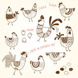 Vector images of chickens, hens, cocks, eggs in cartoon style, line art. Elements for design cover food package Stock Image