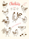 Vector images of chickens, hens, cocks, eggs in cartoon style, line art. Elements for design cover food package Stock Photo