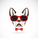 Vector images of dog (bulldog) wearing sunglasses Stock Image