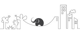 Vector images of elephants on a rope. Stock Photography