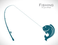 Vector images of fishing rod and fish. On white background Stock Photography