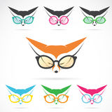 Vector images of fox wearing glasses Royalty Free Stock Images
