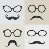 Vector images of glasses and mustaches. On white background Royalty Free Stock Images