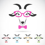 Vector images of a goat wearing glasses. On white background Royalty Free Illustration