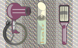 Vector Images hair hairspray, a comb for hair care. Set of brushes combs, hair spray and hair dryer. Drawn in the vector Stock Photography
