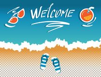 Vector images of header site, cover, post social network, with invitation to the sea. Hotel, beach, resort, vacation, with the words welcome stock illustration