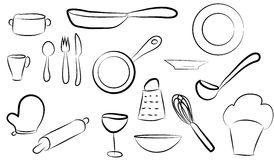 Vector images kitchen dishes sets Stock Images