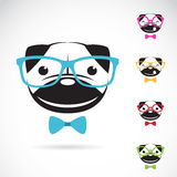 Vector images of pug dog wearing glasses Royalty Free Stock Photos