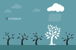Vector images of trees, clouds and rain. Royalty Free Stock Photos