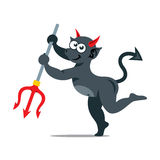 Vector imp with trident Cartoon Illustration. Stock Photography