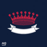 Vector imperial crown with undulate ribbon. Classic coronet. With decorative curvy band. King regalia design element Stock Image