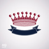 Vector imperial crown with undulate ribbon. Classic coronet with Royalty Free Stock Photography