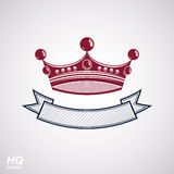 Vector imperial crown with undulate ribbon. Classic coronet with Stock Photography