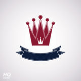 Vector imperial crown with undulate ribbon. Classic coronet with decorative curvy band. Stock Images