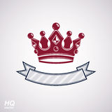Vector imperial crown with undulate ribbon. Classic coronet with decorative curvy band. Stock Photography