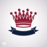 Vector imperial crown with undulate ribbon. Classic coronet with decorative curvy band. Royalty Free Stock Image