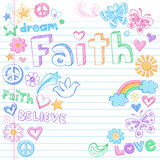 Vector incompleto de los Doodles de la paloma de la paz de la fe Foto de archivo libre de regalías